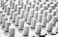 Music Mixer. Close-up. Focus on the foreground. Black and white.